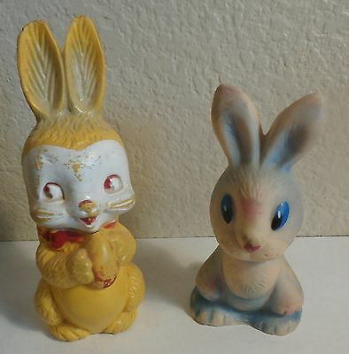 2-Vintage Plastic Rubber Rabbit Bunny Figurines Decoration 1-Chew Toy Easter