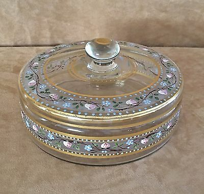 "Antique handpainted Gold floral Glass lidded bowl 9"" dish centerpiece bohemian"
