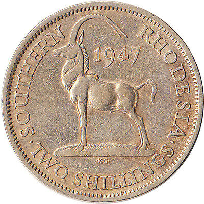 1947 Southern Rhodesia (British) 2 Shillings Coin KM#19b One Year Type