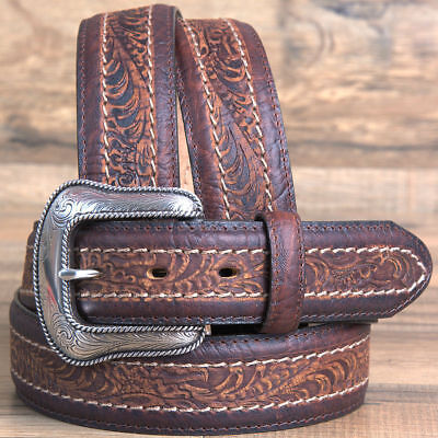Justin Mens Sheridan Tooled Leather Belt W/ Silver Engraved Buckle Brown