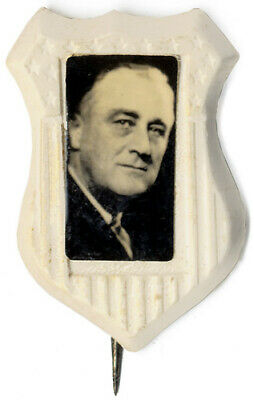 Vintage 1932 Franklin Roosevelt Celluloid Shield Photo Pin (6179)