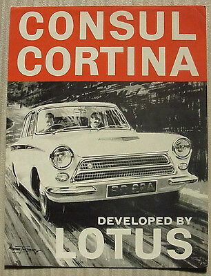 FORD CONSUL CORTINA LOTUS Mk 1 Car Sales Specifcation Leaflet c1963