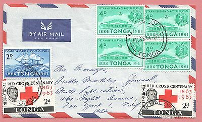 1963 Tonga Multi Franked Airmail Cover To Usa + Letter