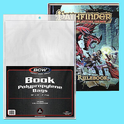 "100 BCW 10x13 POLY 2 MIL BOOK BAGS +2"" FLAP Storage Sleeve RPG Game Magazine"