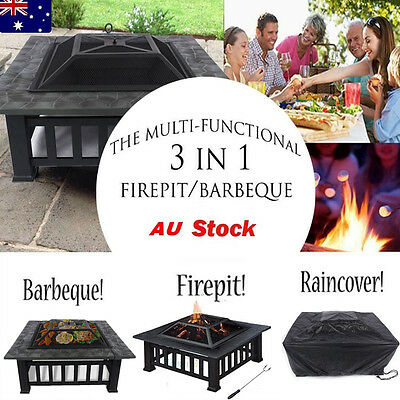 2 IN 1 Outdoor Fire Pit BBQ Table Grill Garden Camping Heater Fireplace Brazier