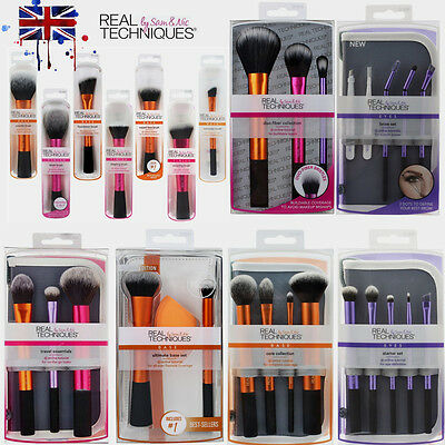 New 4 Sets Real Techniques MakeUp Brushes Cosmetic Core Collection Starter UK