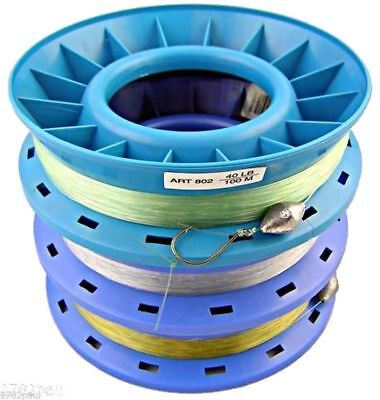40lb PRE RIGGED 8 INCH RING CASTER HAND LINE-100m BULK 3 PACK GREAT FOR THE FAMI