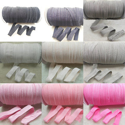 5 Yard Solid Fold Over Elastics Polyester Satin Ribbon Lace Sewing Trim Craft