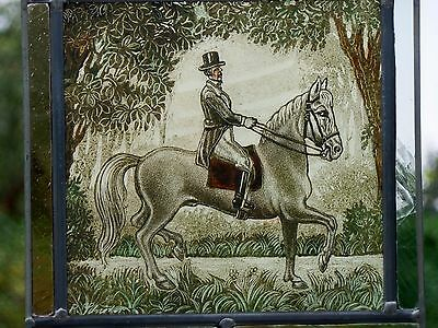 Leaded Glass Window Image rare older Stained glass rode out signed