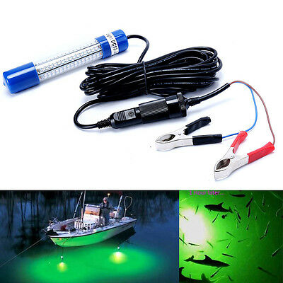 12V Underwater Green White LED Fishing Light Night Boat attracts fish Squid US