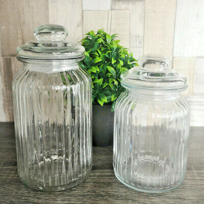 Set Of Ribbed Glass Storage Jars 990ml 1300ml Kitchen Tea Coffee Sugar Sweet Jam