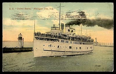 Antique Michigan City Indiana SS United States steamer postcard