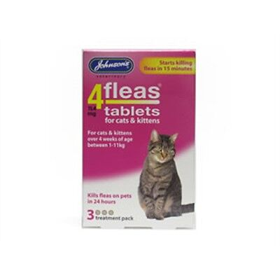 Pack Of 3 4fleas Tablets For Cats And Kittens - Johnsons Vet 4 Fleas & Kills