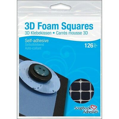 "1 2""x 1 2"" Black 3d Foam Squares - Scrapbook Adhesives Selfadhesive 126pkg 5x5"