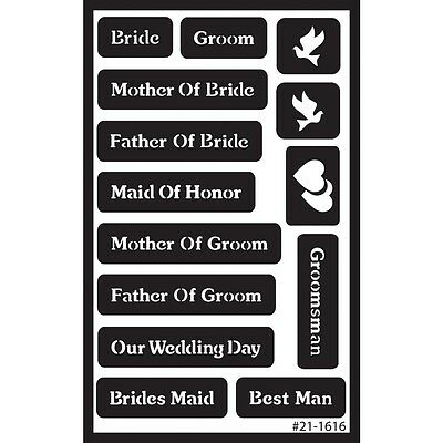 "Wedding Over N Over Stencil - Armour Reusable Sand Glass Etch 5""x 8"""