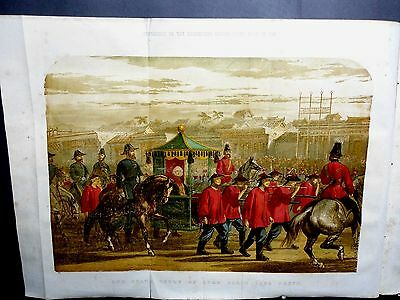 1861-ILLUSTRATED LONDON NEWS- State Entry Lord Elgin Peking China Color Print