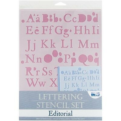 Editorial Lettering Stencil Set - Blue Hills Studio Alphabet And Numbers