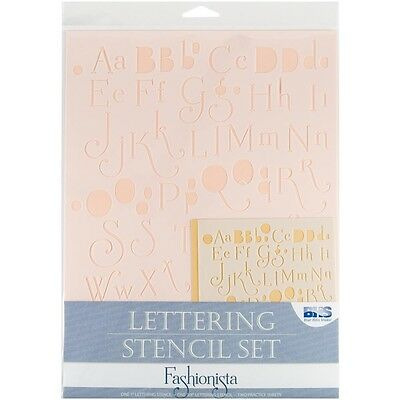 Fashionista Lettering Stencil Set - Blue Hills Studio Alphabet And Numbers