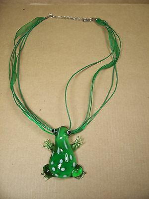 Frog Necklace - Art Glass Frog Figure Necklace on 5 Strand Cord / Ribbon- 17-19""