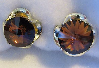 Vintage Signed BERGERE Amber Tone Glass & Silver Tone Clip Earrings