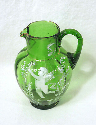 "Vintage Antique Green Glass Pitcher Mary Gregory 6"" with Angel or Cupid Old!"