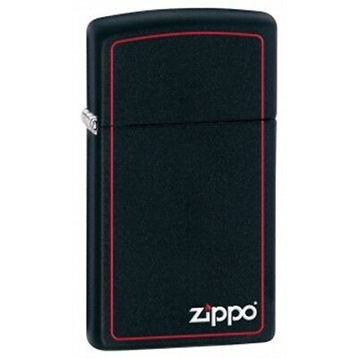 Slim Matte Black Zippo Lighter With Logo & Border - And Pocket Gift Smokers