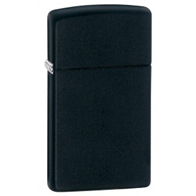 Slim Matte Black Zippo Lighter - Pocket Small Gift Present Smokers Accessory