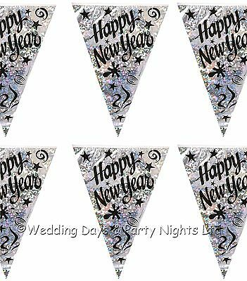 12ft Sparkly Happy New Year Flag Banner Black + Silver Bunting Party Decorations