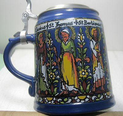 "German lidded stein w 6 Saints 5.5"" religious qrl ᵀ"