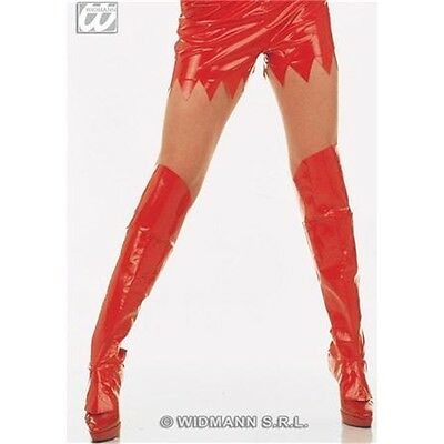 Adult's Red Boot Top Covers - Long Pvc Devil Fancy Dress Costume New