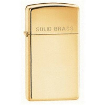 Slim High Polish Brass Zippo Lighter - Polished W 'solid ' On Lid Gift Accessory