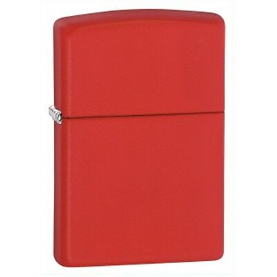 Red Matte Zippo Lighter - Regular Pocket Small Gift Present Smokers Accessory