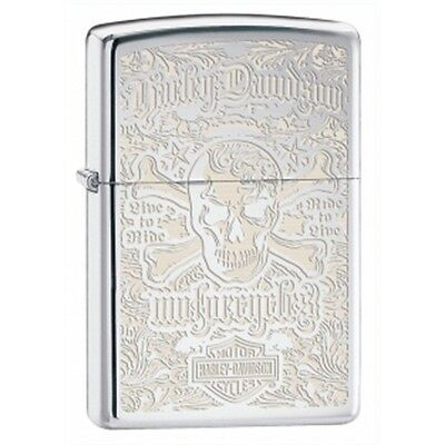 High Polish Chrome Harley Davidson Skull Zippo Lighter - Hd Gift Accessory