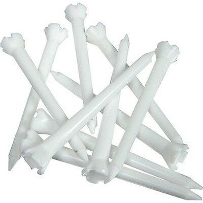 Pack Of 10 Plastic Low Friction Golf Tees - Extra Long White Tee 75mm