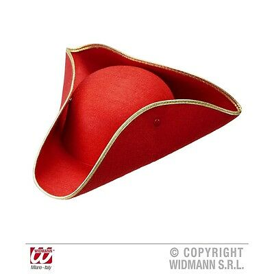 Adult's Red Tricorn Felt Hat - - Novelty Fancy Dress Costume Party Pirate Navy