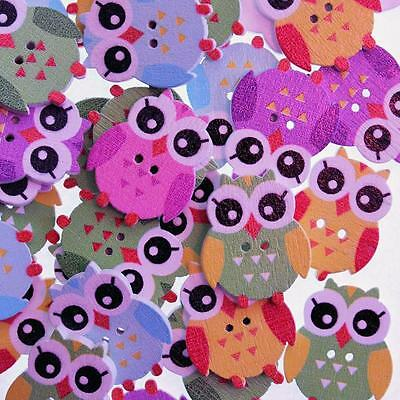 Boutons en Bois Hibou Multicolore - Lot de 10 - Scrapbooking Couture