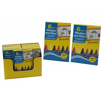 6 Pack Of Jumbo Window Glass Washable Crayons - Arts Crafts Colouring Colourful