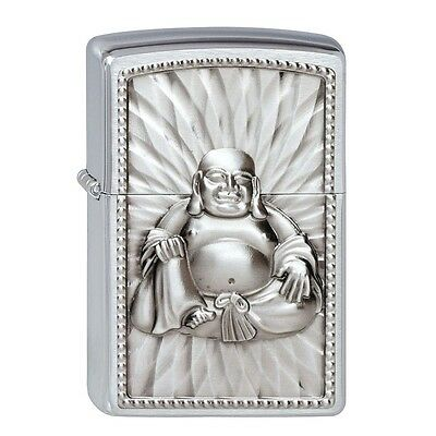 Brushed Chrome Buddha Zippo Lighter With Pearls - 108 Pearlys Smokers Gift