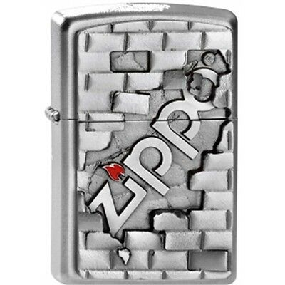 Satin Chrome The Wall Emblem Zippo Lighter - Small Smokers Gift Present