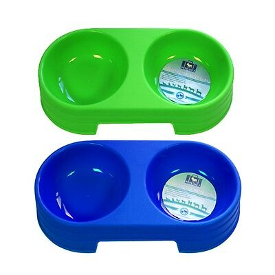 Pets Double Food And Water Bowl Assorted Colours - Boyz Toys One Size Uk