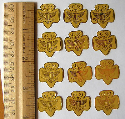 Vintage Girl Scout 1960s GOLD TREFOIL 12 STICKERS SEALS Gold Eagle Pin SWAPS