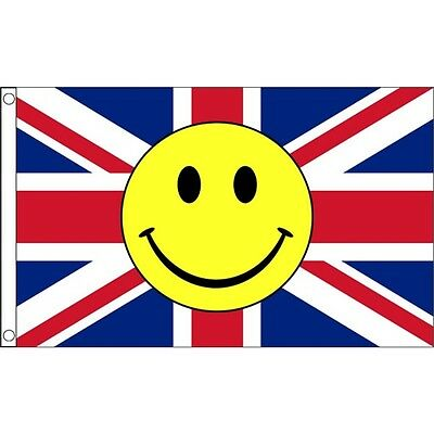5ft x 3ft Union Jack Smiley Face Flag - Uk England 5ft With Metal Eyelets