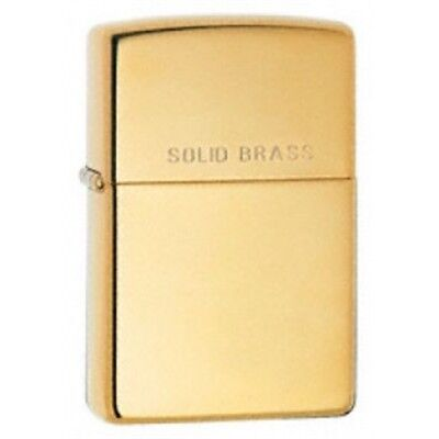 High Polish Brass With 'solid Brass' On Lid Zippo Lighter - Polished W ' Pocket