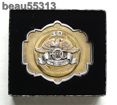 """""""NEW""""  HARLEY DAVIDSON OWNERS GROUP 10th 1983-1993 ANNIVERSARY HOG BELT BUCKLE"""