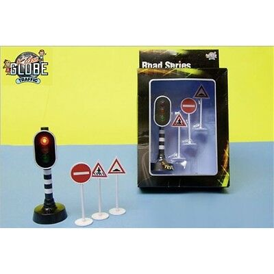 Traffic Lights & Signs Model - Kids Globe Light With 3 Childs Toy Road Set