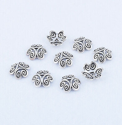 Hot 40pcs Tibetan Silver Flower Charm Beads End Caps Jewelry Findings DIY 12mm