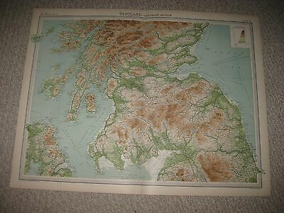 Set Of 2 Huge Folio Size Antique 1922 Northern Southern Scotland Times Atlas Map