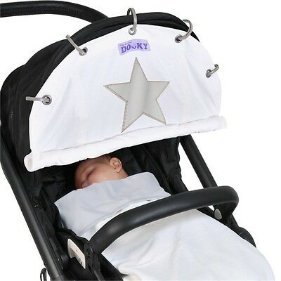 Dooky Winter Dooky Cream Reflective Star - Pushchair Shade With Easy Fit Easy