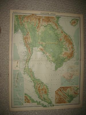 Huge Antique 1922 Farther India Vietnam Singapore Hanoi Asia Times Atlas Map Nr