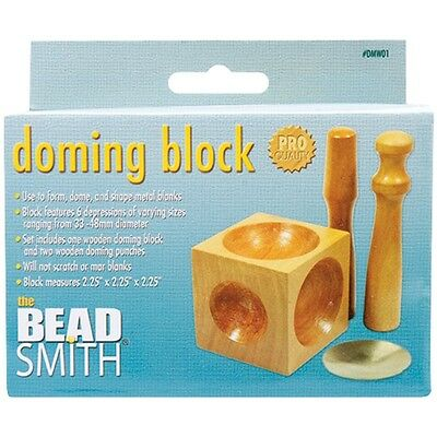 Wood Doming Block & Punches For Jewellery Making - Beadsmith With 2 Dents